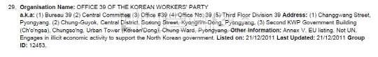 영국 정부, 북한 비자금 관리 노동당 39호실 금융제재 중